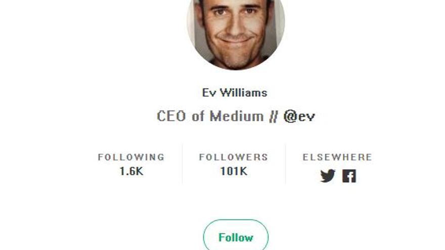 Perfil del CEO de Medium, Ev Williams, con el nuevo aspecto 'retro' de la plataforma