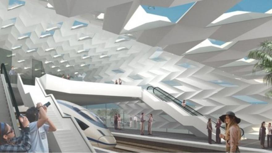 Maqueta del interior de la estación de Vecindario.   Ferrocarriles de Gran Canaria