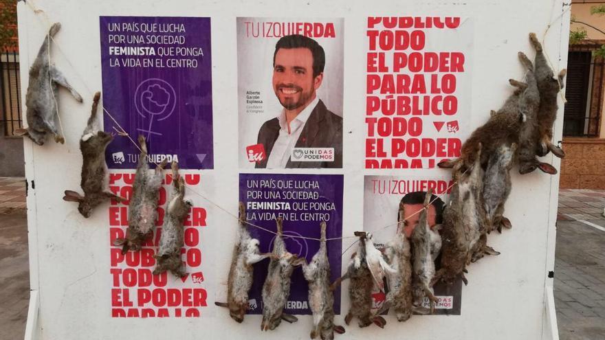 El cartel electoral de Alberto Garzón en La Puebla de Almoradiel