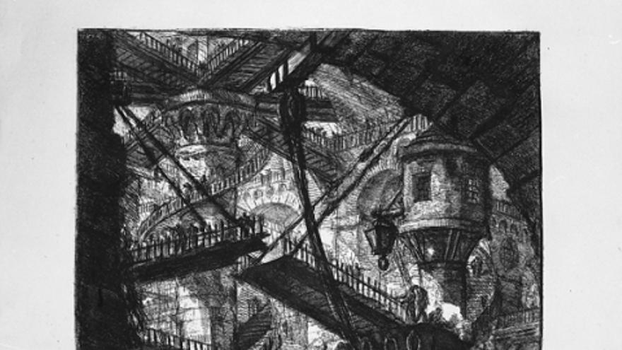 El puente levadizo cárcel. Carceri d'invenzione, hacia 1761. /Fondazione-Giorgio-Cini-Venecia