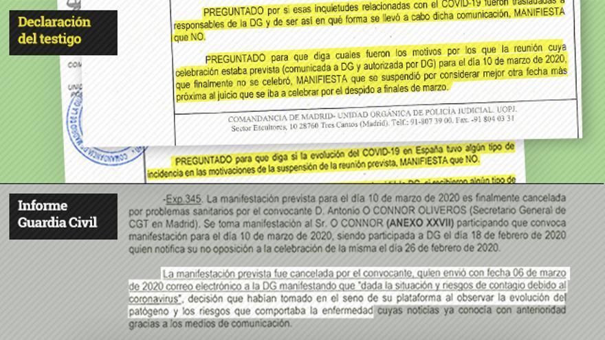 Comparación entre la declaración del testigo y lo recogido en el informe de la Guardia Civil sobre esa declaración