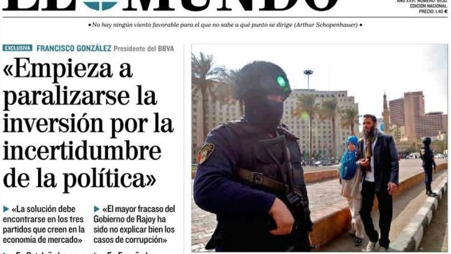 Portada de El Mundo del lunes 25 de enero.