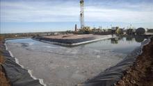 Un pozo activo de fracking.  