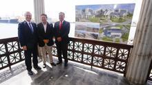 Luis Ibarra, Augusto Hidalgo y Rafael Cabrera en la presentación del proyecto del Teleférico a La Isleta