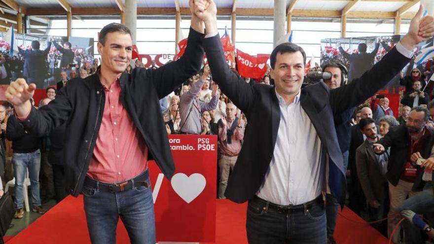 Pedro Sánchez y Gonzalo Caballero en el mitin de lanzamiento de la precampaña gallega