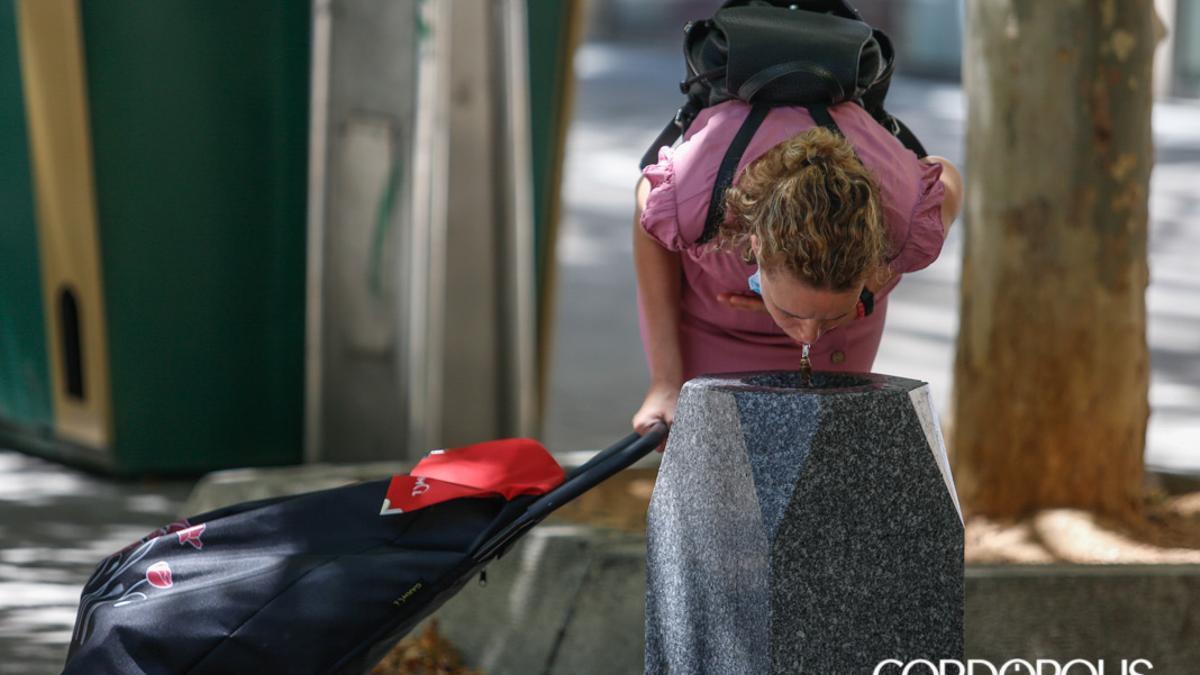 Una mujer se refresca en una fuente