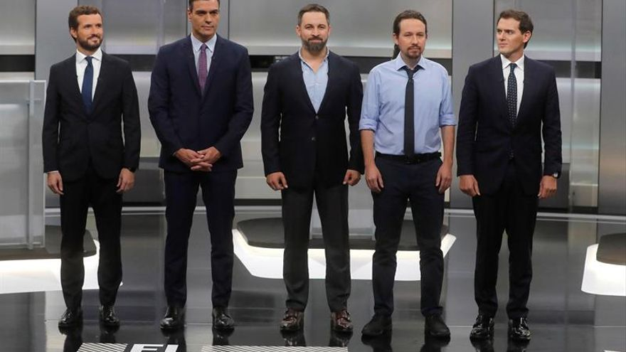 Los candidatos a la presidencia del Gobierno, (i-d) Pablo Casado, Pedro Sánchez, Santiago Abascal, Pablo Iglesias y Albert Rivera.