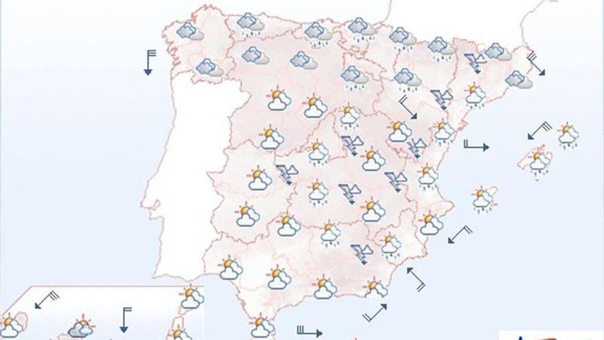 Mañana, chubascos, tormentas y descenso de las temperaturas