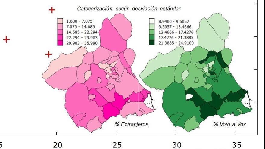 Mapa de la Región de Murcia con los datos de concentración de población inmigrante y votos a Vox por municipios