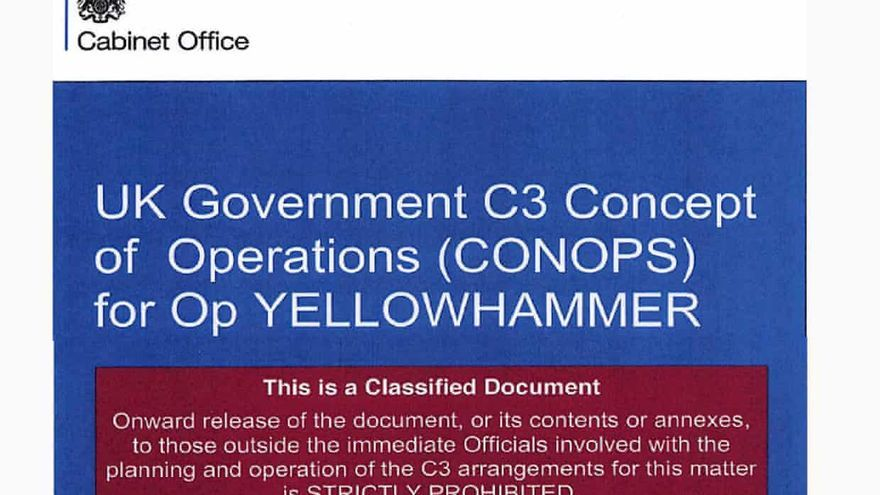 Operación Yellowhammer (martillo amarillo): manual en caso de un Brexit sin acuerdo. Fuente: theGuardian