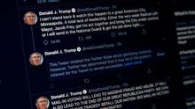 A photograph of a computer screen shows the warning Twitter placed on US President Donald J. Trump's tweet from earlier this morning in Washington DC (USA). President Trump's tweet implied that looters in Minneapolis, Minnesota could be shot.