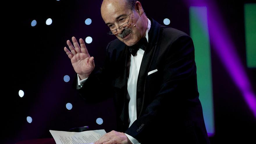 Antonio Resines, durante su discurso como presidente de la Academia de Cine en los Goya 2016
