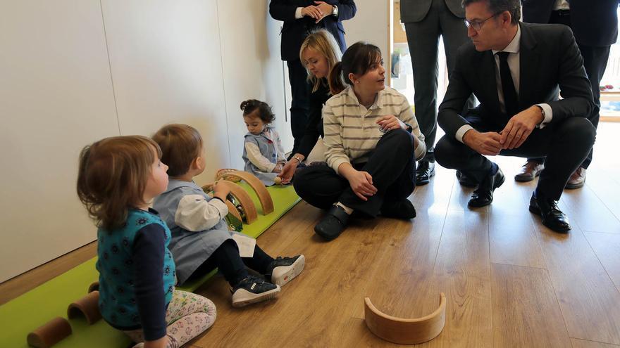 Feijóo, este martes en una visita a una escuela infantil