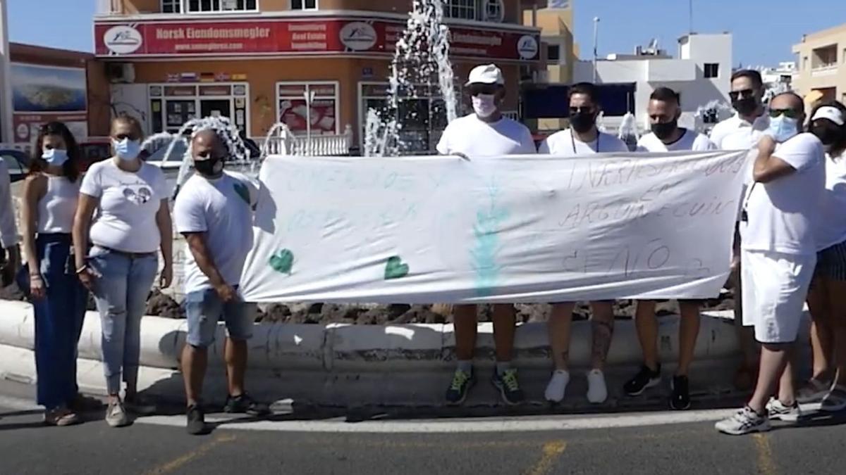 Manifestación de este sábado en contra de las obras del túnel de Arguineguín