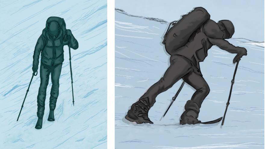 Técnica de ascenso y avance en esquí