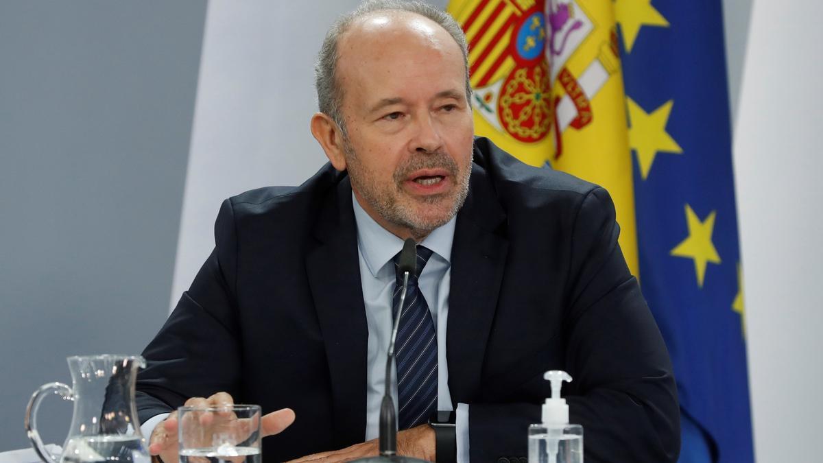 El ministro de Justicia, Juan Carlos Campo, comparece en la rueda de prensa posterior al Consejo de Ministros.