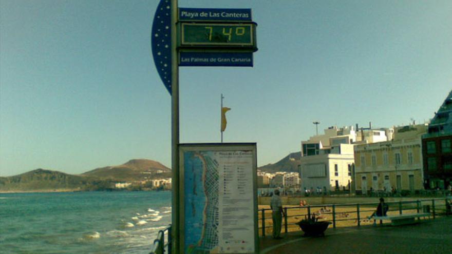 Tremendo calor de 74º mirando pa' La Isleta
