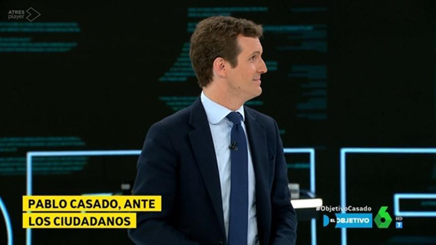 Pablo Casado durante la entrevista en El Objetivo de La Sexta