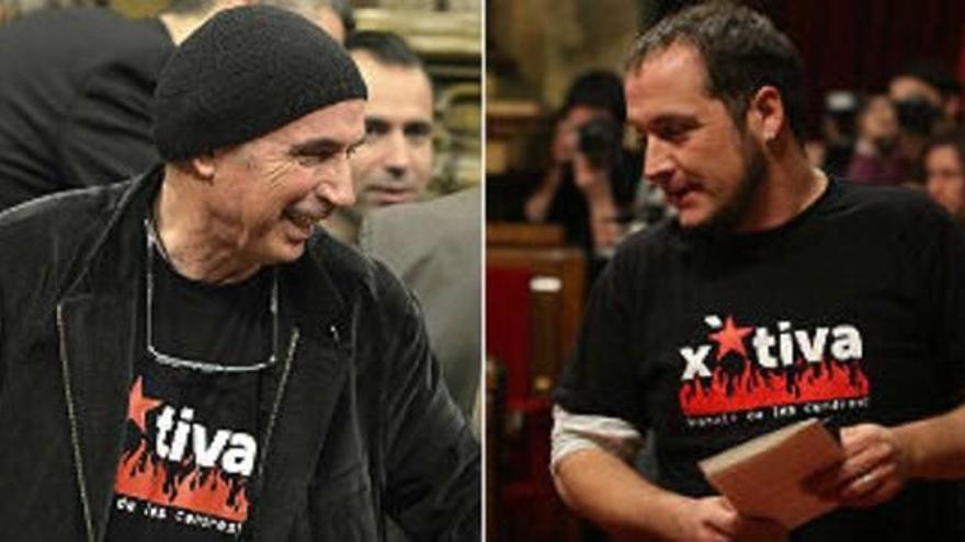 Fernàndez y Llach, con la camiseta de Xàtiva