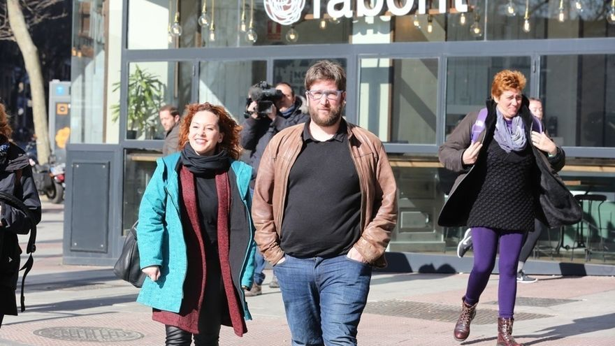 Miguel Urbán, número uno de la lista, y Lorena Garrón, número cuatro, la semana pasada.