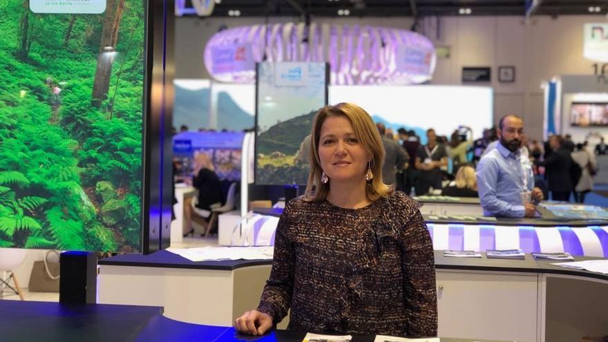 Alicia Vanoostende, consejera de Turismo del Cabildo de La Palma, en La feria internacional World Travel Market de Londres