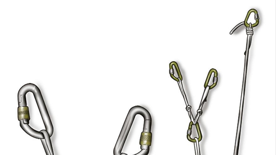 Triángulo de fuerzas Equalette a tres puntos. Para repartir bien la carga sobre los seguros utilizamos otro triángulo Equalette en cinta. Si fuesen cuatro puntos haríamos la misma operación sobre éstos.