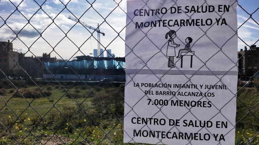 Vista de la parcela cedida por el Ayuntamiento a la Comunidad de Madrid para construir un centro de salud de Montecarmelo.