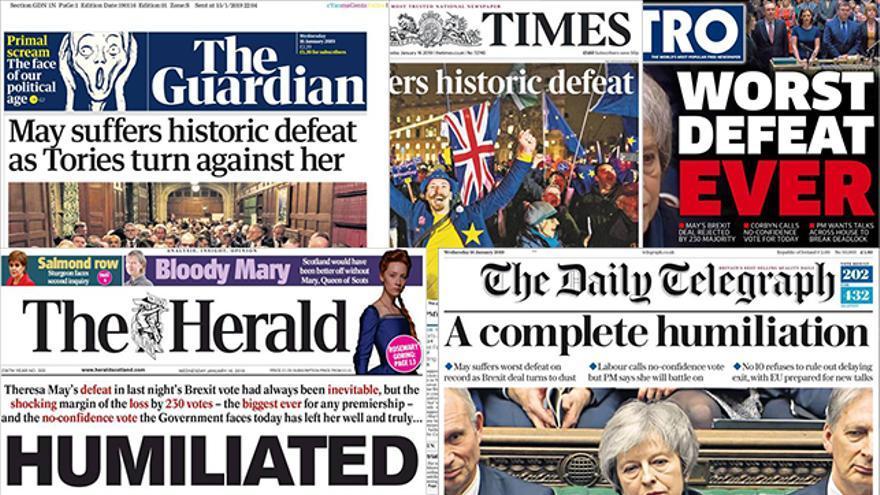 Las portadas de este miércoles en Reino Unido sobre le fracaso de Theresa May