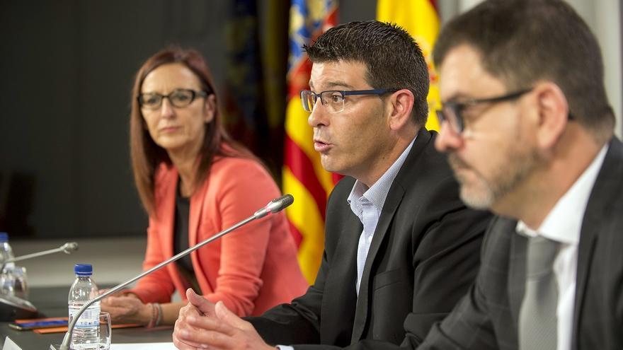 Maria Josep Amigó, Jorge Rodríguez i Emili Altur, durant la roda de premsa