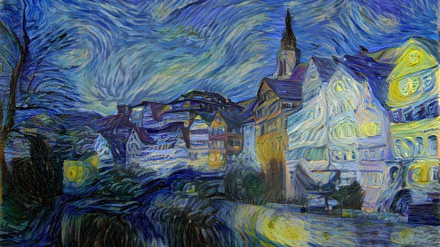 Una fotografía creada por DeepArt para imitar 'La noche estrellada' de Vincent Van Gogh