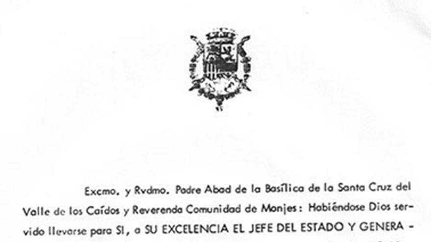 """Documento con el que el """"rey emérito"""" pide que Franco sea enterrado en el Valle de los Caídos."""