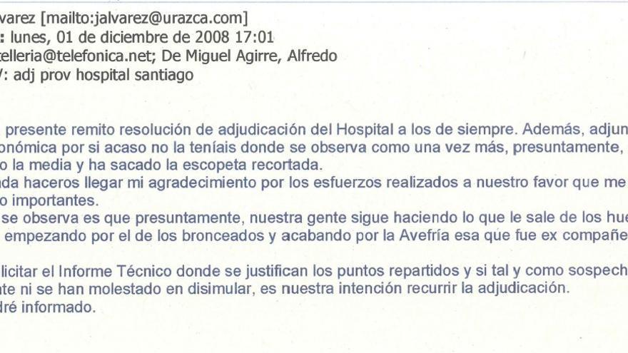 """Email de Urazca agradeciendo a De Miguel sus """"esfuerzos"""""""