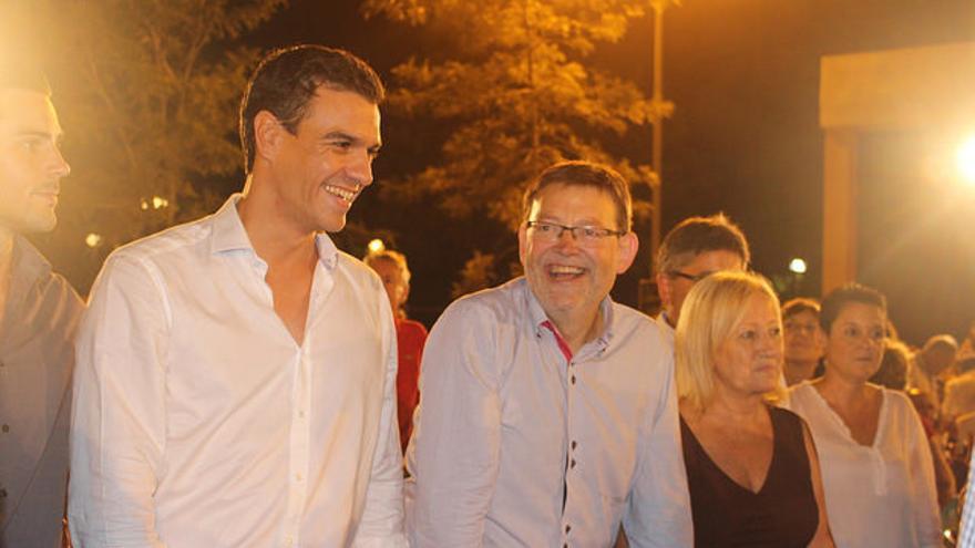 Pedro Sánchez y Ximo Puig en un acto del PSPV-PSOE en Alicante.