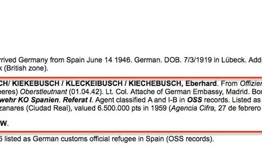 Lista de nazis protegidos, extracto