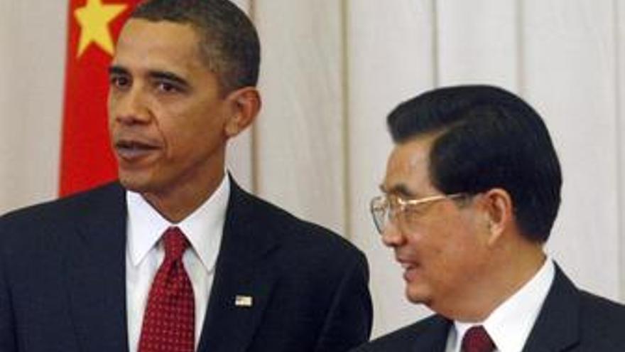 Presidente de Estados Unidos y su homólogo chino Hu Jintao