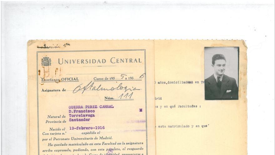 Ficha alumno Francisco Guerra. | Biblioteca Marquesa de Pelayo