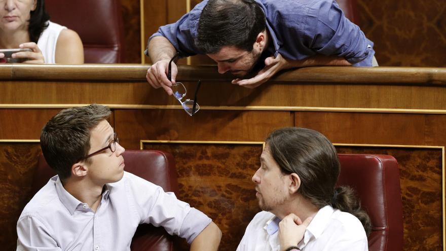 Íñigo Errejón, Pablo Iglesias, y Alberto Garzón en el Congreso