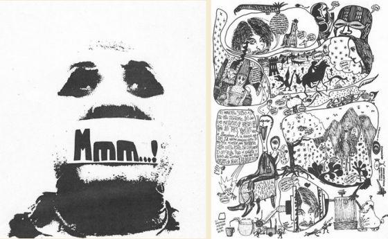 Portada de Mmm...! número 2, 1976 y Zurrillanos (Fernándo Márquez, alias El Zurdo), sin título). Mmm..! número 3, 1977, p. 5. |  http://www.tebeosfera.com/documentos/documentos/comics_y_dibujos_de_la_movida_madrilena.html