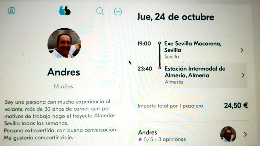 Pantallado del perfil del diputado almeriense de Cs Andrés Samper en Blablacar, que el usuario ya ha eliminado.