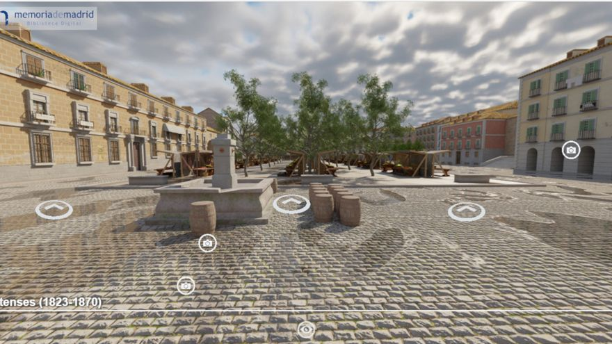 Aspecto que tendría la plaza de los Mostenses entre 1823 y 1870, cuando hubo un mercado al aire libre en ella