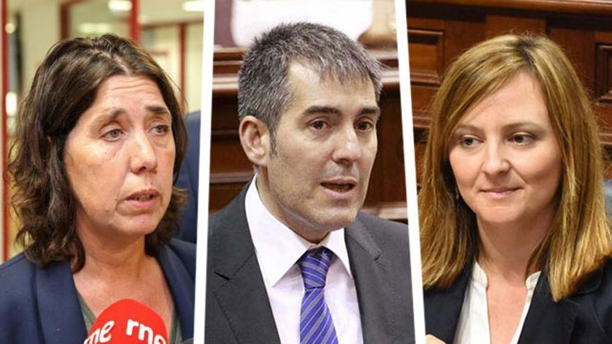 Blanca Pérez, viceconsejera de Medio Ambiente, Fernando Clavijo, presidente del Gobierno de Canarias y Nieves Lady Barreto, consejera de Sostenibilidad.