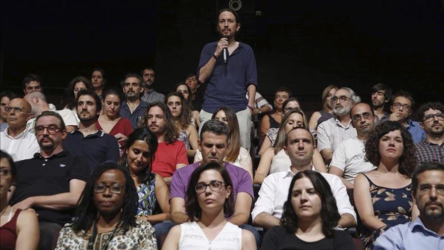 El secretario general de Podemos, Pablo Iglesias, en la presentación de su candidatura. / Efe