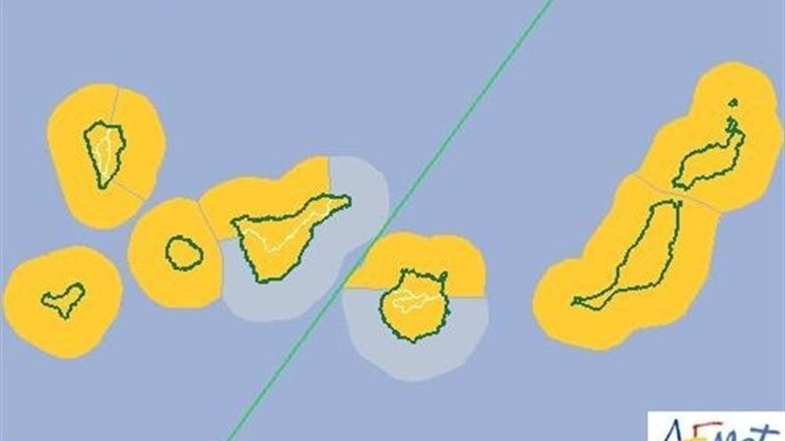 Mapa de la AEMET con las previsiones para hoy y mañana. CEDIDO