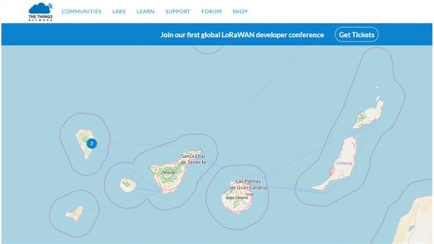 Mapa de la red LoRa en Canarias.