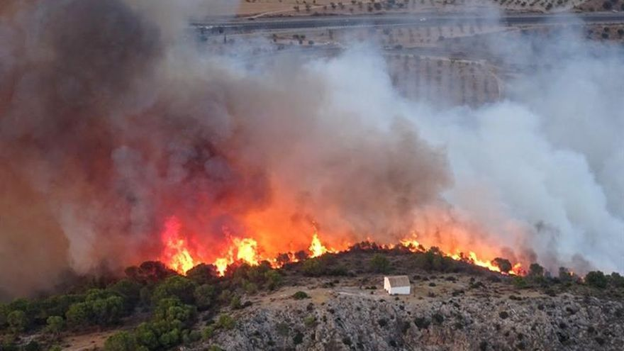 Desalojan varias casas por un incendio forestal en Calasparra (Murcia)