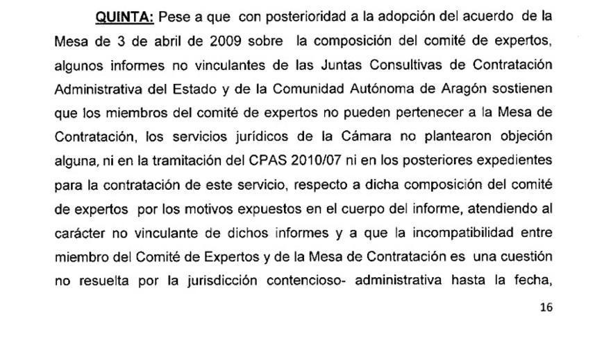 Extracto del informe de la Asamblea de Madrid sobre el procedimiento de contratación de la institución.