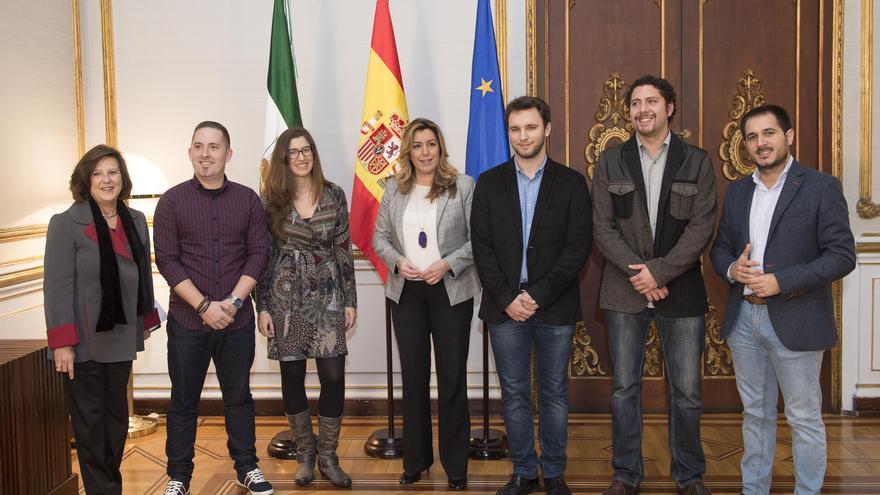 Susana Díaz cuando recibió a los integrantes de la comisión permanente, actualmente en funciones.