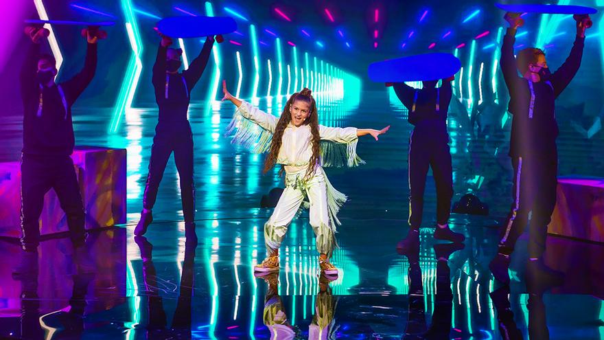 Soleá, durante su actuación en 'Eurovisión Junior 2020'