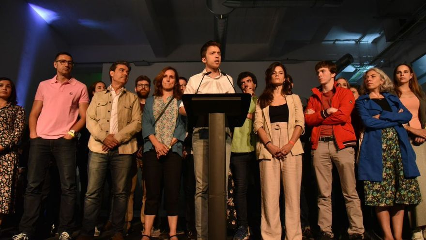Íñigo Errejón acompañado de sus compañeros de candidatura.