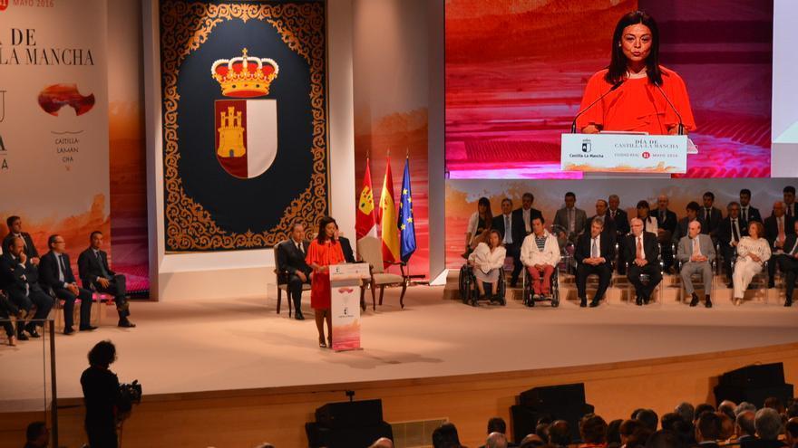 Pilar Zamora en el acto institucional